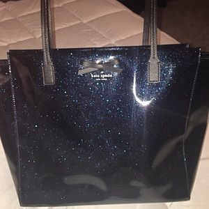 Kate Spade navy blue glitter tote